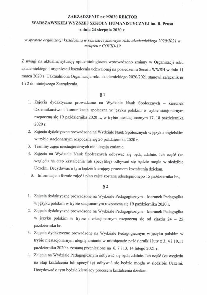 Zarządzenie Rektor_Organizacja roku akad.20_21_24.08.2020-1