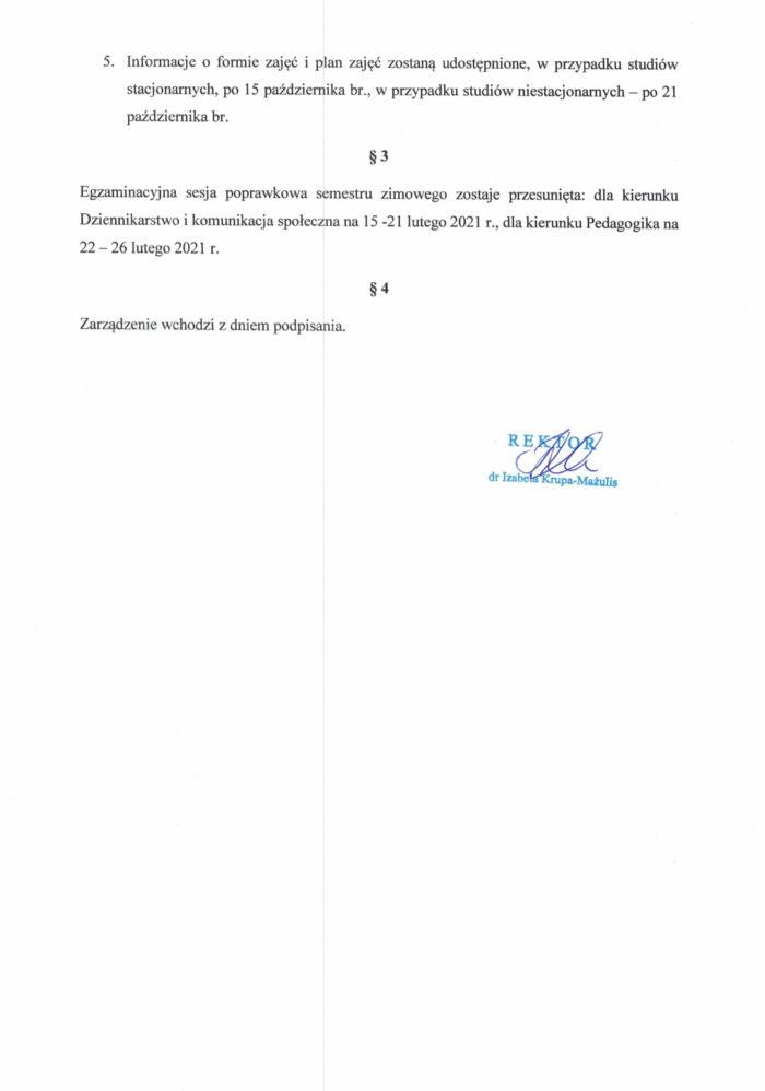 Zarządzenie Rektor_Organizacja roku akad.20_21_24.08.2020-2