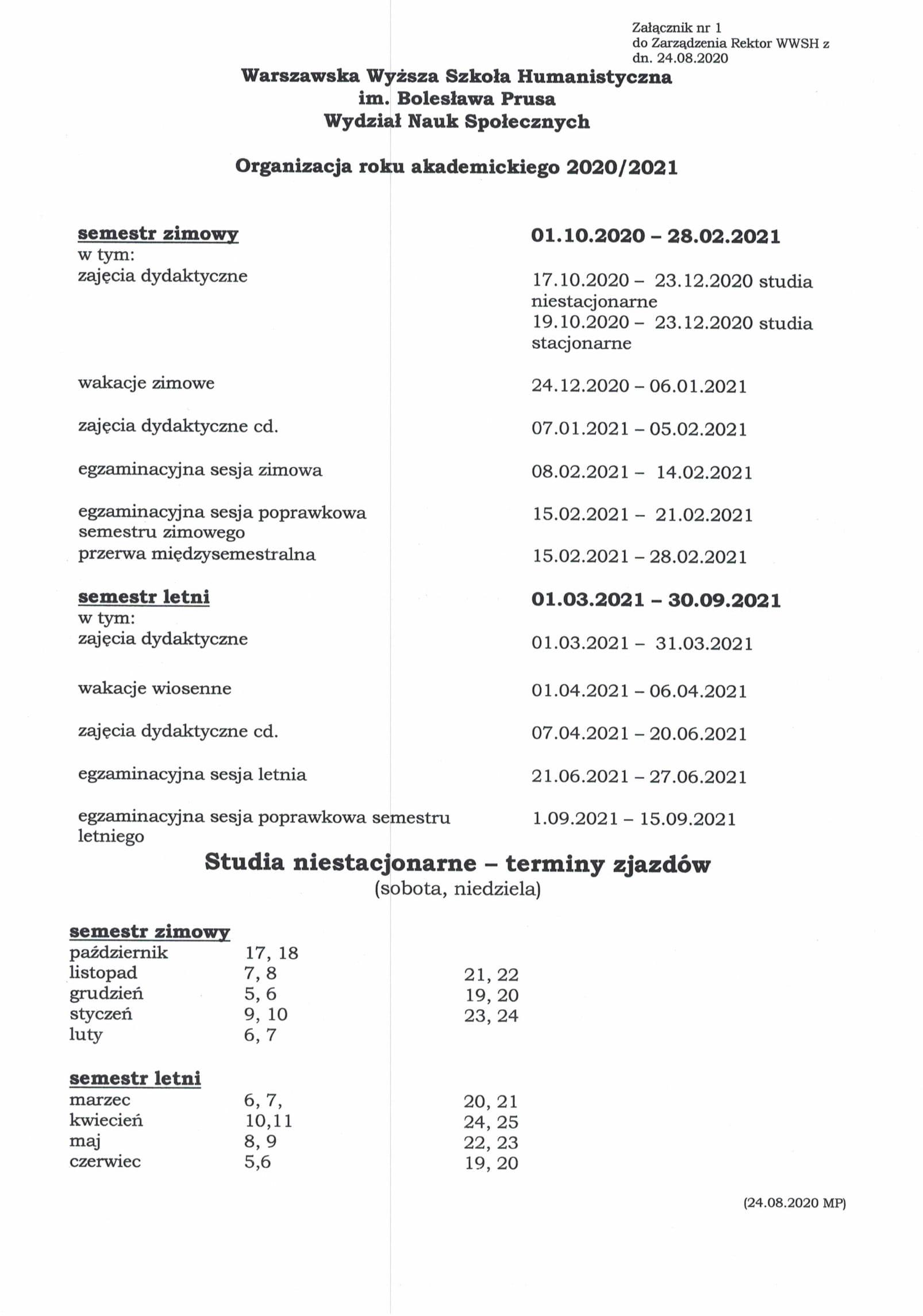 Zarządzenie Rektor_Organizacja roku akad.20_21_24.08.2020-3
